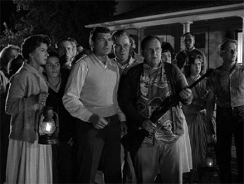 Scene from Twilight Zone episode The Monsters Are Due on Maple Street.